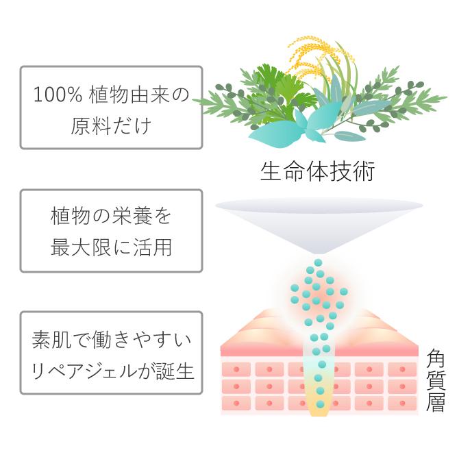 100%植物由来の原料だけ 植物の栄養を最大限に活用 素肌で働きやすいリペアジェルが誕生